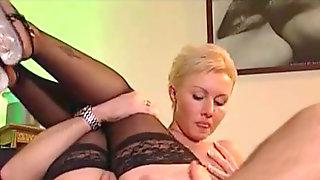 Short Blond Hair - Pantyhose Sex. - Euro