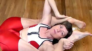Granny In Super Hot Crimson Spandex- Mature Soles