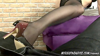 ShoeJob And FootJob With Cum On Feet In Tights