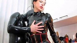 Spandex Dominatrix Hand-job Cum Rubber Slave Cock