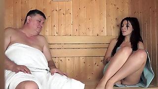 Old Man Nails Young Girl At Sauna