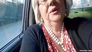 Italian Grannie Milks In Her Car