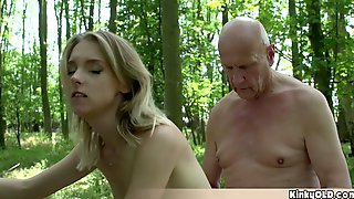 Petite Blonde Teen Banged In The Forest By Old Grandpa
