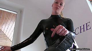 German Platinum-blonde In Spandex Smoking And Peeing