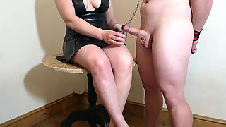 Chastity Release - Small Penis Spouse Tongues His Jizm From My Feet