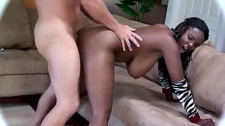 Busty Ebony Bends Ass To Fit Her Pussy With A Big White