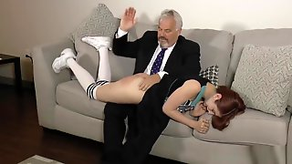 Cheerleader Caught With No Panties And Spanked