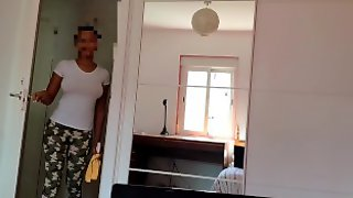 Cleaning Lady Help Me Cum. Hot Ebony Young Maid Fucking