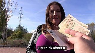 Chesty MILF Laura Orsolya Fucks A Dude In Public For Money