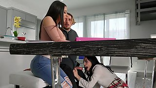 Vanessa Sky Sneakily Is Sucking Tyler Nixons Cock Under The Table