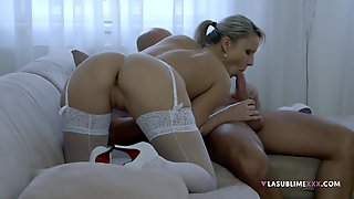 Lustful Wife Samantha Jolie In White Stockings, Pussy And Ass Fucked