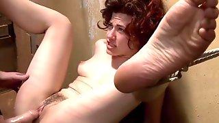 Tied In Metal Frame Bed Slave Gets Anal