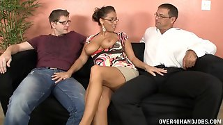 Mature Wife Stacie Starr Gives A Double Handjob To Two Guys