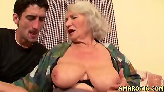 Old Busty Grandma With Big Saggy Tits Seduces Younger Guy For Cum