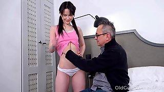 Skinny Teen Sweetie Plu Gets Intimate With One Kinky Senior