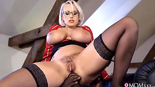 Curvy Light-haired Mature With Glasses And Ample Cupcakes Is Having Buttfuck Romp With A Dark-hued Fellow