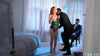 Strong Fucking For The Redhead While Hubby Sits And Watches Her