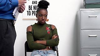 Shoplifting Ebony Babe Anne Amari Is Punished By White Security Guy