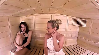 VRB TRANS Sauna Threesome With TS Girlfriend And Her Friend VR Porn
