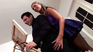 Insatiable Sluts In Purple Satin Are Having A Steamy Threesome In Front Of The Camera