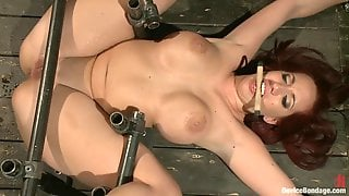 Busty Mom Kelly Divine Fixed, Tiped Up With Boobs Torture, Spanking And Ass Fucking Machine