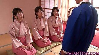 Three Japanese Babes Jerk Off A Lucky Fella