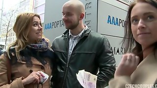 Slovak Couple Fucks On The Stairs For Money