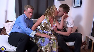 Dad And Son Sharing Mature Mother