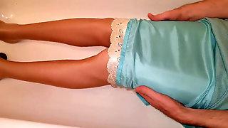 WAM Lined Office Mini-skirt & Satin Slide
