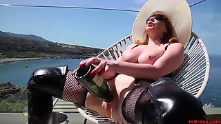 Mature Red Xxx Bangs A Champagne Bottle Outside