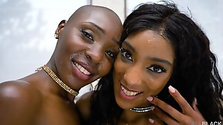 Ebony Cutes Zaawaadi And Asia Rae Battle With One Black Dick