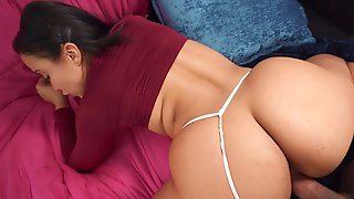 Big Ass Asian Babe Lands The Right Inches Into Her Bum Hole