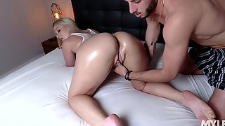 Sexy Milf In Lubed White Swimsuit Lisey Sweet Gets Fucked By Horny Young Man