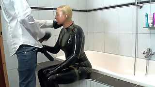 Two Rubber Layers Dark-hued And Transparent Latex Catsuit Blowjob And Urinating
