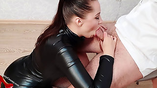 Sexy Girl In Latex Costume Deep Throat Manhood Hostage And Jizz In Mouth