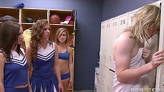 Guy With A Long Dick Pleasures Three Lesbian Cheerleaders On The Floor
