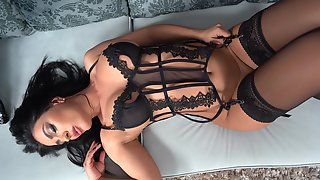 Brunette In Black Lingerie, Sensual Oral Gagging And Facial