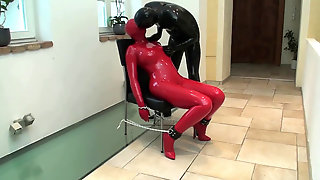 Manhandled Rubber Bi-atch In Crimson Latex Catsuit And Mask Bounded Slapped Pissed