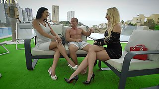 Threesome With Marilyn Crystal & Shalina Devine In A Public Place