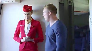 Hot And Wondrous Stewardess On Bord