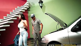 Racy Brunette, Cris Fatally Is Determined To Fuck A Mechanic To Pay For All His Services