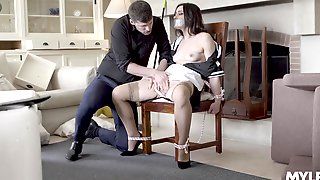 Intriguing Home Domination With The Chick Tied Up And Gagged