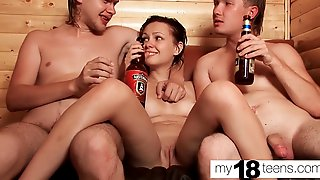 Group Sex With Young Babe In Sauna