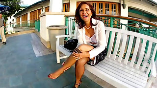 Switching Her Nylons In Public
