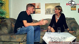 German Skinny Mature Milf Seduced  Guy