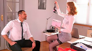 Cute Redhead In Black Stockings Lenina Crowne Nailed In The Office