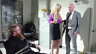 Boss With A Huge Member Persuaded Blonde Secretary For Sex - Bridgette
