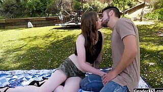 Brunette Shemale Ravaged By A Guy After Sloppy Outdoor Blowjobs