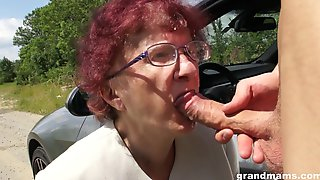 Kinky Granny Gives A Blowjob And Tugjob To One Spoiled Young Guy