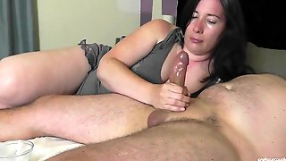 BBW WIFE TEASES AND EDGES HUBBYS COCK WITH OILY HANDJOB!